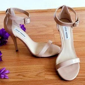STEVE MADDEN Realove Fawn-Beige Patent Heels Sz 7